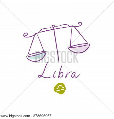 Libra Illustration, Handwriting, Symbol On White Background. Vector Illustration
