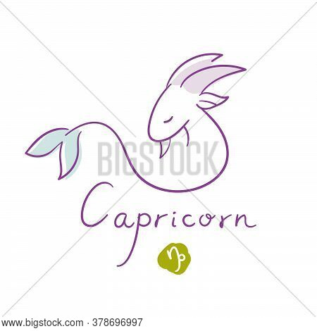 Capricorn Illustration, Handwriting, Symbol On White Background. Vector Illustration