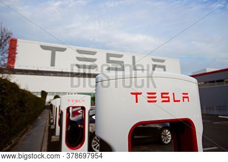 Fremont, Ca - January 25, 2020: Close-up Of Tesla Logo At Supercharger Station At Tesla Factory In F
