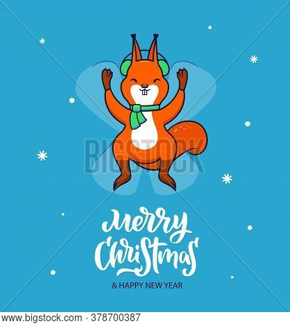 The Traditional Winter Holiday Design Merry Christmas. Blue Background With White Snowflakes. Squirr