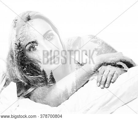 Portrait Of Pretty Young Woman Awaking After Sleep, Double Multiple Exposure Effect,combined Images