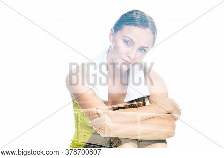 Tired Athletic Woman Resting After Exhaustive Training, Double Multiple Exposure Effect,combined Ima