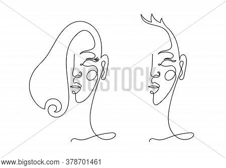 Abstract Linear Male And Female Portrait. Modern Hand Drawing, Female Face, Continuous Line, Minimal