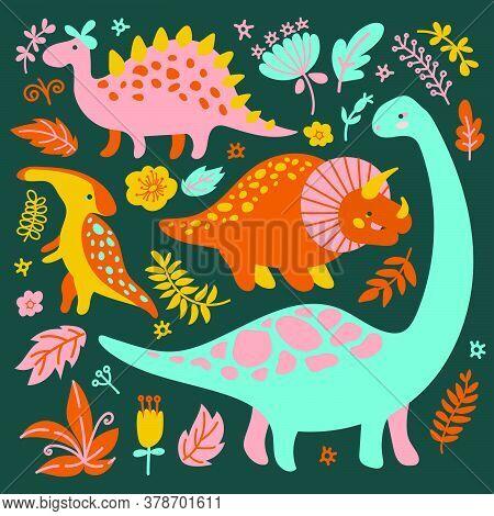 Dino Collection Grunge Prehistoric Cartoon Animals Vector Illustration Set For Print