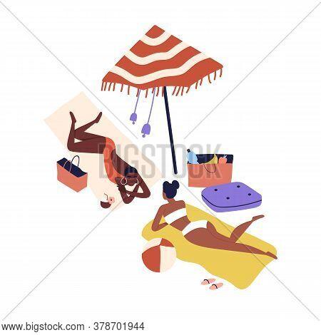Cartoon Women Friends Sunbathing On Beach In Bikini. Dark Skin Girls Rest By Sea, Relaxing In Summer