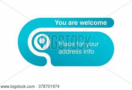 Address Block Template For Website Or Banner - Creative Rounded Frame With Geo Location Pin (marker)
