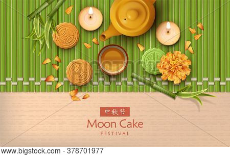 Chinese Mid Autumn Festival Background. Translation Of Chinese Characters - Mid Autumn Festival