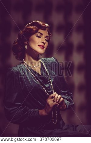 Vintage Portrait Of Attractive Woman In Hollywood Style With Bright Makeup