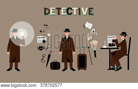 A Set Of A Detective In A Hat With A Flashlight, In A Coffee House, Surrounded By Accessories. Inves