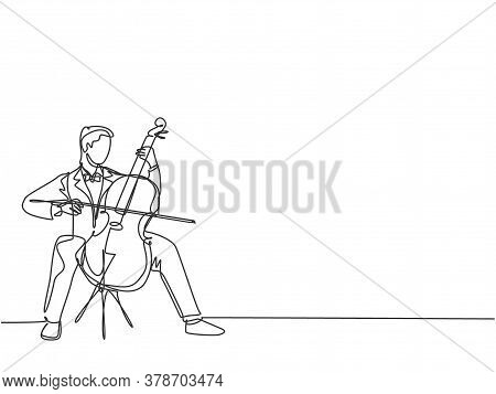 One Single Line Drawing Of Young Happy Male Cellist Performing To Play Cello On Classical Orchestra