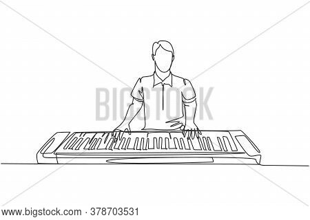 One Single Line Drawing Of Young Happy Male Pianist Playing Electric Synthesizer, A Modern Keyboard
