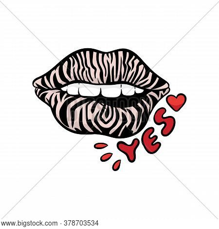Fashion Patch Or Sticker With Sexy Women Lips, Vector Illustration Isolated.