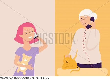 Grandmother And Granddaughter Or Grandchild Are Talking On The Phone And Smartphone.