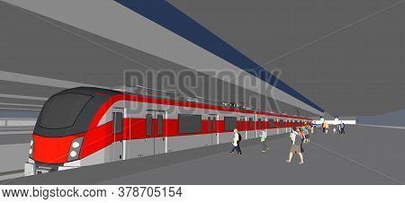 Empty Subway Station Interior With Metro Train Vector Illustration. Underground Metro Train, Subway