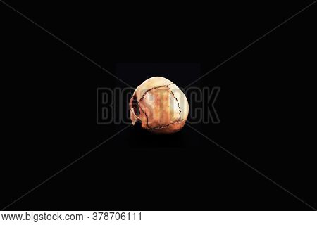 Human Skull Top View Of Medical Lab Skull Isolated On Black, Realistic Skull Bone,good For Medical C
