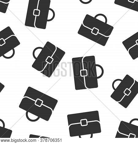 Briefcase Icon In Flat Style. Businessman Bag Vector Illustration On White Isolated Background. Port
