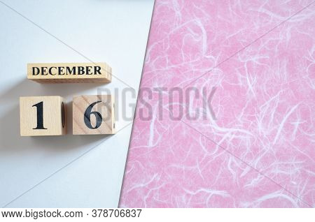 December 16, Empty White - Red Background With Number Cube.