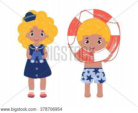 Vector Set Of Children On The Beach. A Boy In Shirts With Lifebuoy And Girl In Sailor Dress Play Tog