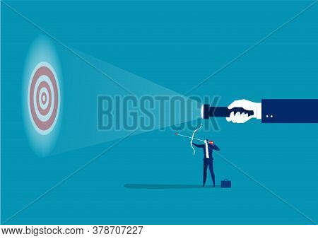 Businessman Looking Guideline At Targets For Shooting Success Concept