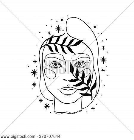 Hand Drawn Face Line Art.elegant Women Beauty Portrait.