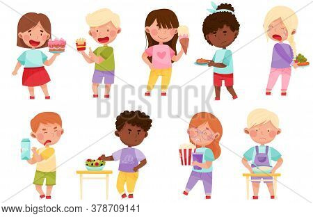 Kid Characters Showing Likes And Dislikes Towards Different Food Vector Illustration Set