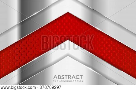 Shinny Metal Silver Background Combine With Red Textured Overlap Layer. Abstract Background Design.