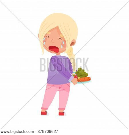 Unhappy Girl Character Crying Showing Dislike Towards Vegetables Vector Illustration
