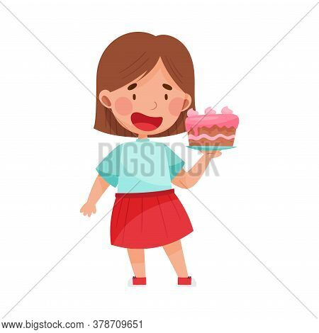Happy Girl Character Showing Like Towards Cake Vector Illustration