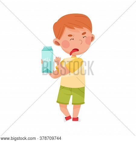 Unhappy Boy Character Showing Dislike Towards Carton Of Milk Vector Illustration