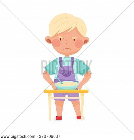 Little Boy Character Showing Dislike Towards Porridge Vector Illustration