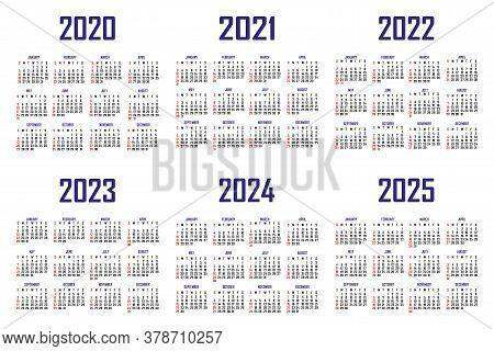 Calendar 2020, 2021, 2022, 2023, 2024, 2025. The Week Begins On Sunday. Simple Calendar Template. Po