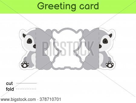Cute Lemur Fold-a-long Greeting Card Template. Great For Birthdays, Baby Showers, Themed Parties. Pr