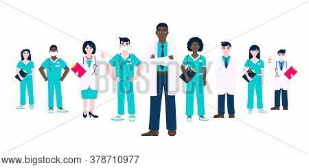 Medical Staff Doctors Team Clinic Employee Vector Illustration Isolated On White Background. Hospita