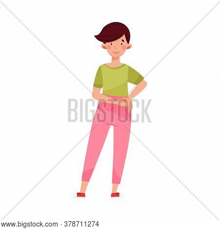 Short-haired Woman Wearing Sweatshirt And Jeans Standing Vector Illustration
