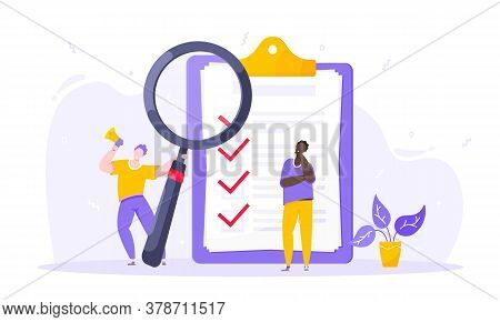 Task Done Business Concept Tiny Person With Megaphone, Magnifying Glass Nearby Giant Clipboard Compl