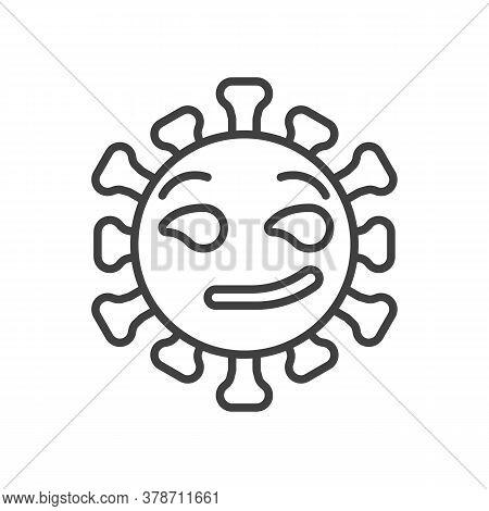 Virus Smirking Face Line Icon. Linear Style Sign For Mobile Concept And Web Design. Coronavirus Emot