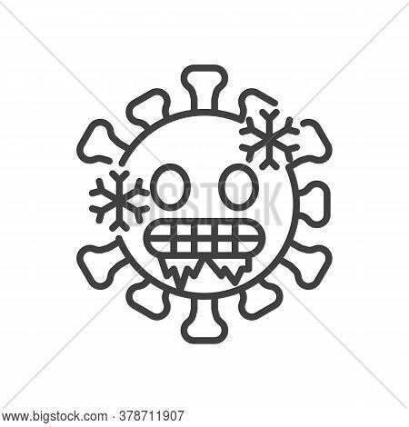Cold Virus Face Line Icon. Linear Style Sign For Mobile Concept And Web Design. Cold Freezing Emotic