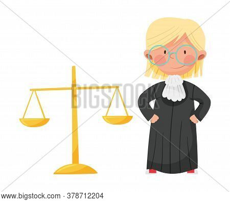 Smiling Girl Character Wearing Long Judge Robe Playing Law Vector Illustration