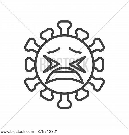 Tired Virus Face Emoji Line Icon. Linear Style Sign For Mobile Concept And Web Design. Coronavirus W