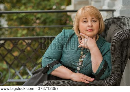 Mature Fashionable Plus Size Woman, Concept Of Middle Age Lady Lifestyle, Plump People