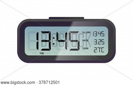 Black Digital Alarm Clock. Electronic Clock Display. Conception Of Punctuality, Accuracy And Time Me