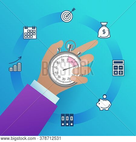 Time Management Concept. Businessman Holding Stopwatch. Business Process Optimisation, Productivity,