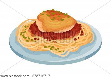 Spaghetti With Baked Chicken Fillet With Tomato Sauce As Italian Cuisine Dish Vector Illustration