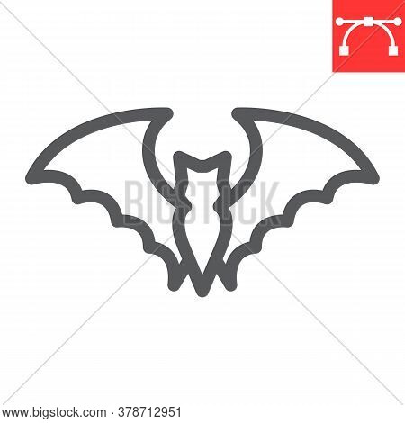 Bat Line Icon, Halloween And Scary, Bat Sign Vector Graphics, Editable Stroke Linear Icon, Eps 10.