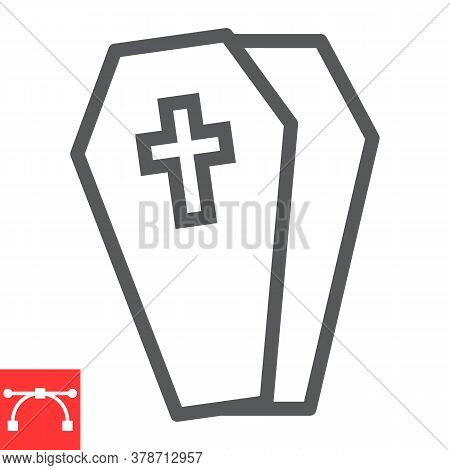 Coffin Line Icon, Halloween And Scary, Casket Sign Vector Graphics, Editable Stroke Linear Icon, Eps