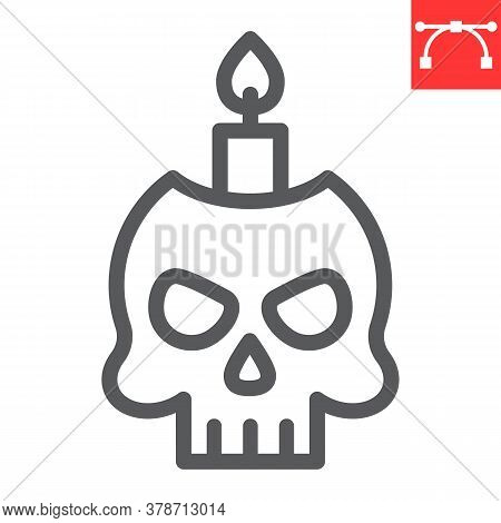 Skull With Candle Line Icon, Halloween And Scary, Halloween Skull Sign Vector Graphics, Editable Str