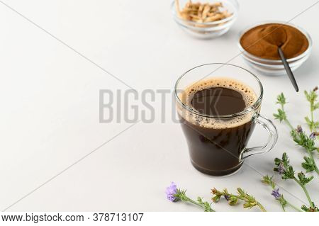 Alternative To Coffee. Healthy Drink Chicory. Chicory Coffee In A Cup On A Light Gray Table. Copy Sp