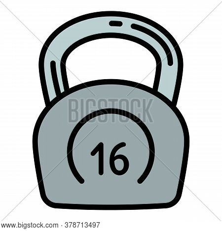 Kettlebell 16 Kg Icon. Outline Kettlebell 16 Kg Vector Icon For Web Design Isolated On White Backgro