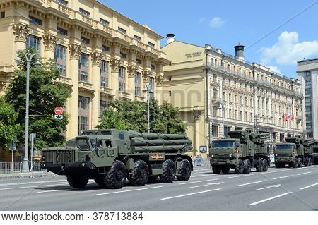 Moscow, Russia - June 24, 2020:military Equipment On Mokhovaya Street In Moscow During The Parade De