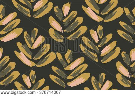 Textured Tropical Leaves Seamless Vector Pattern. One Directional Pattern Of Painted Leaves With Tex